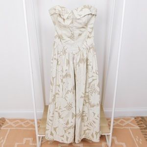 Vintage Tan Pineapple Strapless Midi Dress